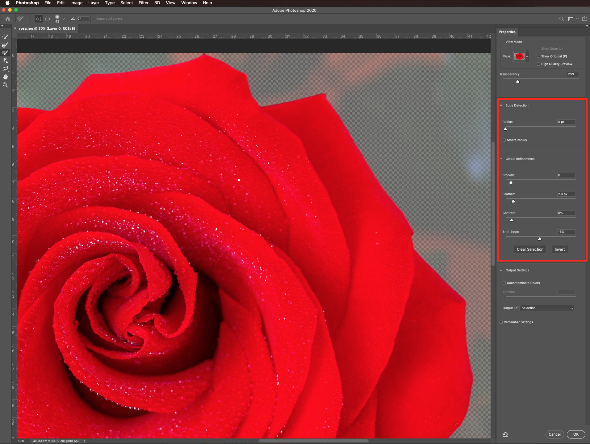 Mask settings in Photoshop