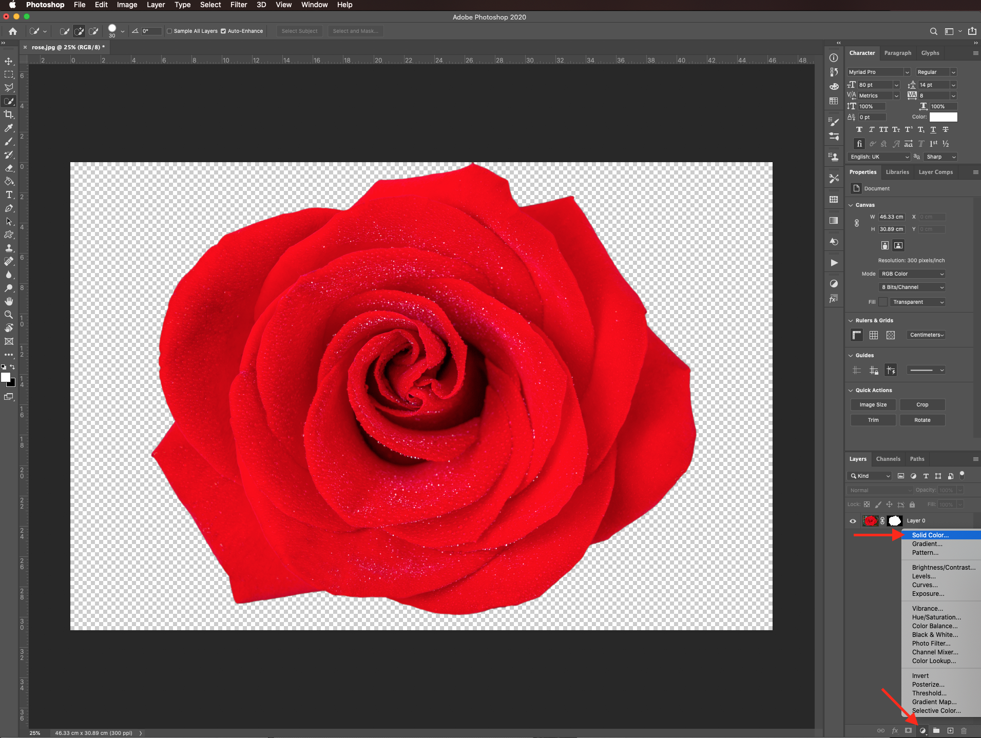Solid color layer in Photoshop