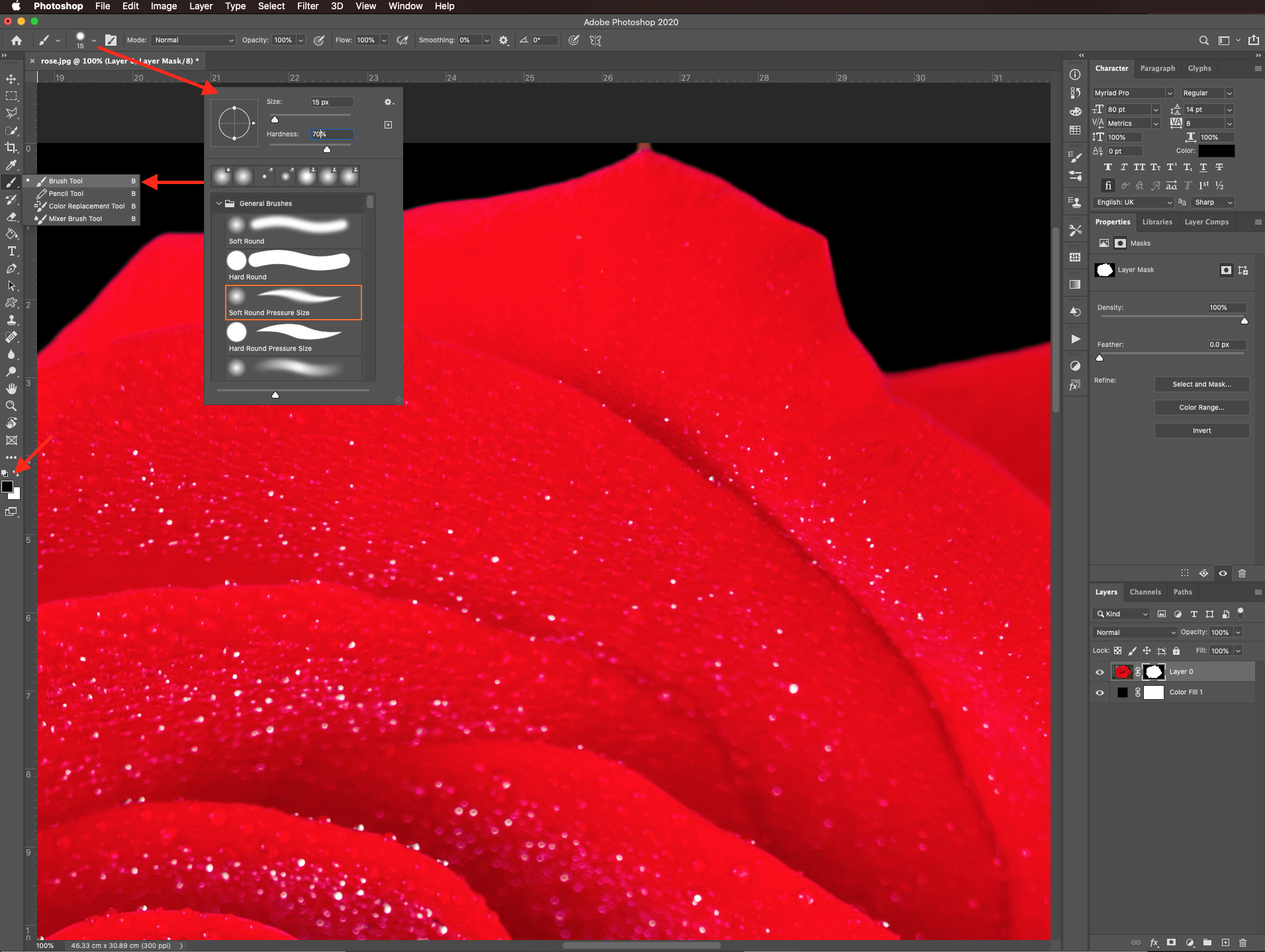 Brush settings in Photoshop